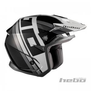 HEBO CASCO TRIAL T-NINE ZONE 5 BLACK/WHITE
