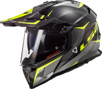 LS2 MX436 CASCO PIONEER RING BLACK TITANIUM H-V YELLOW